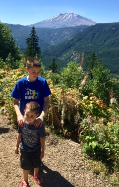 Minions in front of Mt St Helens